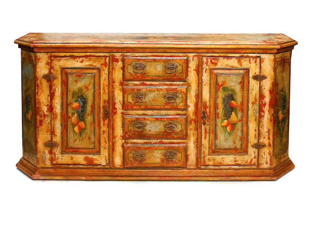 A Baroque style paint decorated side cupboard