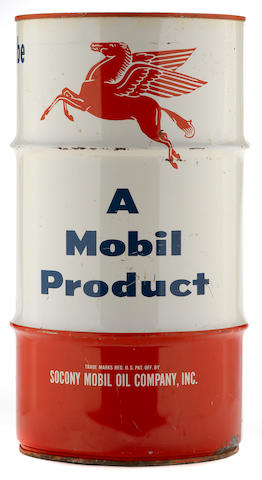 A 16 gallon Mobiloil can,