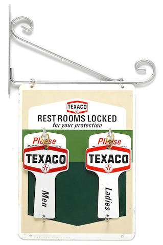 A set of NOS Texaco bathroom keys, c. 1950s,
