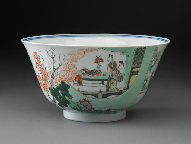 A blue and white porcelain bowl with famille verte decoration Kangxi period