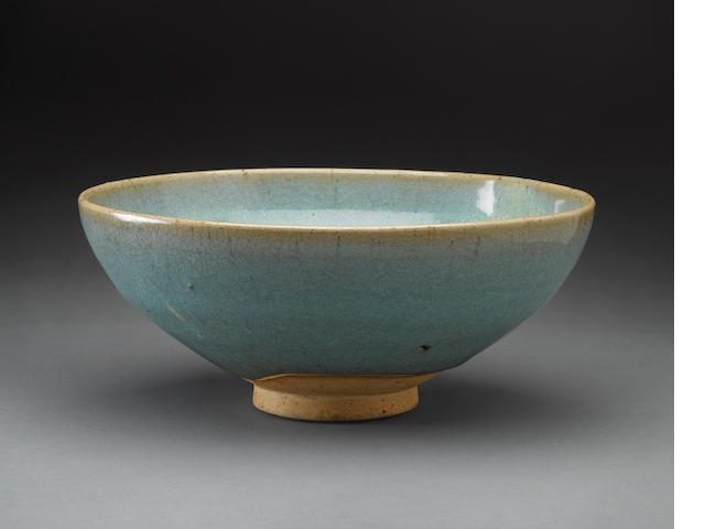 A junyao deep bowl Yuan (degrated glaze, small faint purple splash)