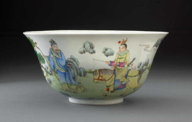 A famille rose enameled porcelain figural bowl Daoguang mark, Republic period