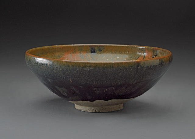 A large black glazed bowl with iron oxide splashes Jin dynasty, 12th/13th century