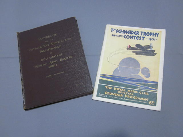 A Handbook for Merlin Aero engines and an original 1931 Schneider trophy programme,