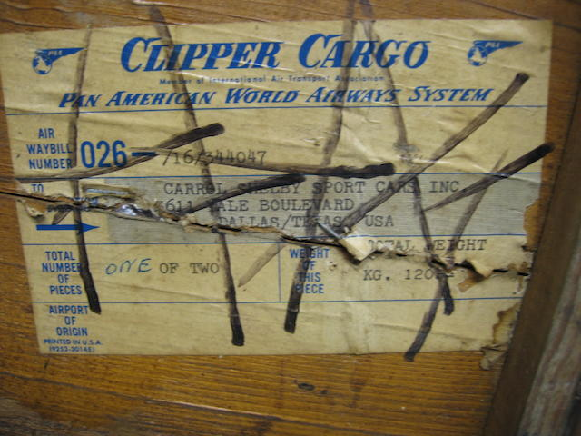 A wooden crate addressed to Carrol Shelby,