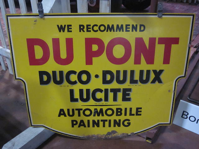 A doublesided DuPont Automobile paint sign, c. 1930s,