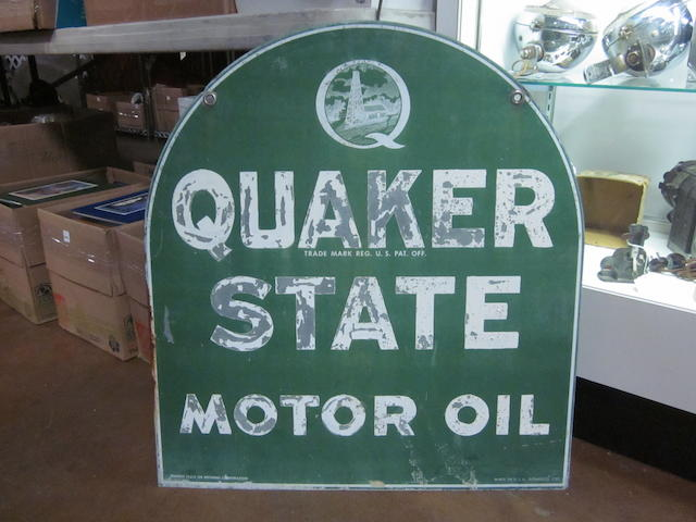 A doublesided Quakerstate Oil sign, 1977,