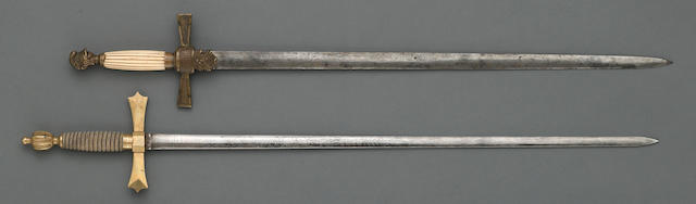 A lot of two American militia officer's/nco's swords