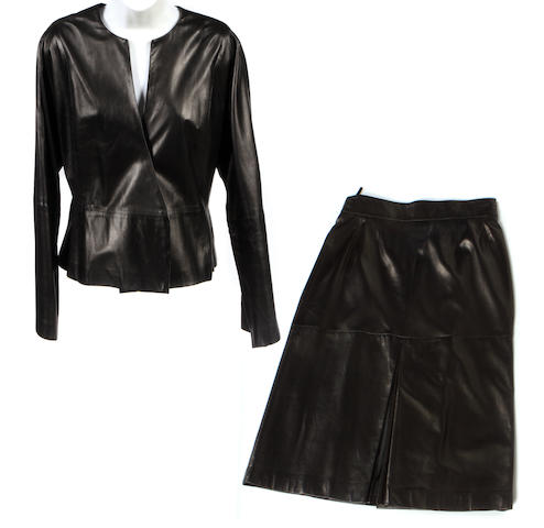 A Max Mara black leather jacket and skirt