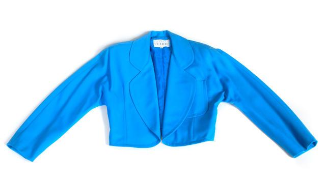 A Gianfranco Ferré sky blue short jacket