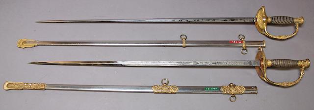 A lot of two U.S. Model 1860 staff & field officer's swords