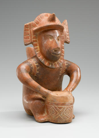 Colima Spouted Vessel in the form of a Seated Drummer, <BR />Protoclassic, ca. 100 B.C. - A.D. 250