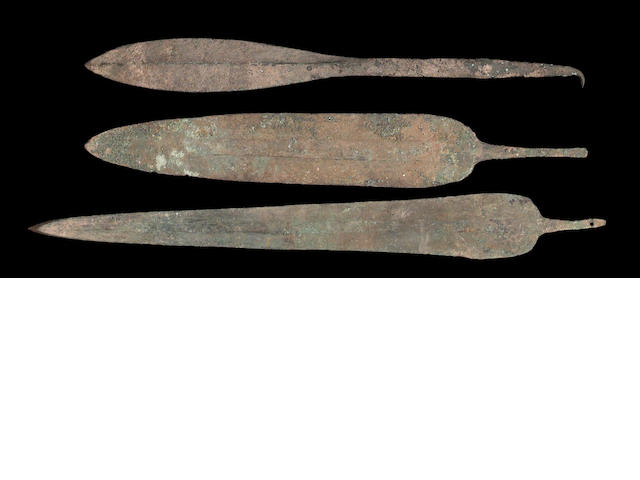 A lot of three large Persian Bronze Age spearpoints
