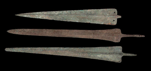 A lot of three large Persian Bronze Age dagger blades/spearheads