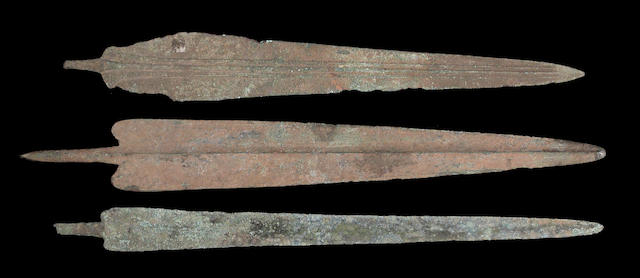 A lot of three large Persian Bronze Age dagger blades/spearpoints