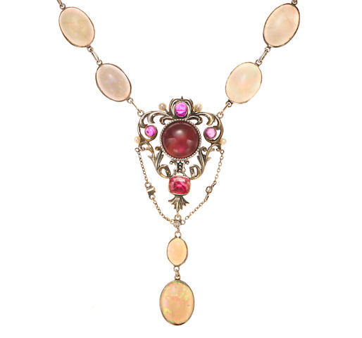 An opal, pink tourmaline, seed pearl and diamond necklace