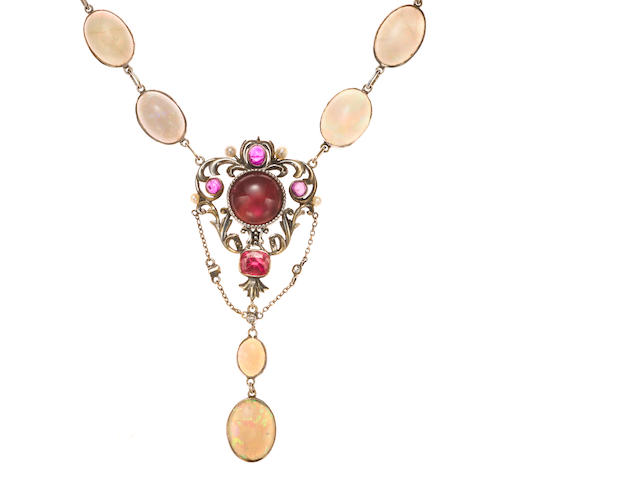 Opal and red stone pendant necklace