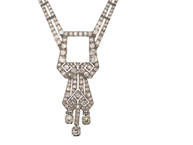 A diamond, platinum, and 18k white gold necklace, etdw = 12.50cts