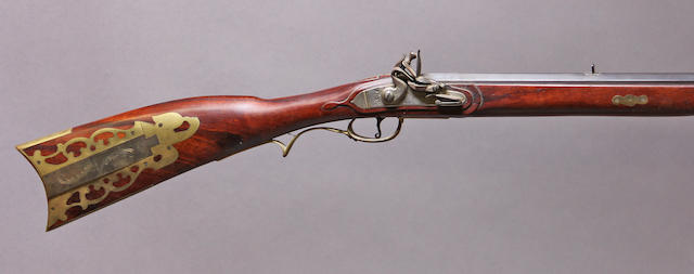 A good reproduction American flintlock buck and ball gun by P. Gardner