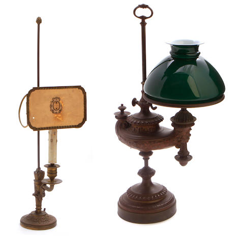 A Neoclassical style patinated bronze argand lamp