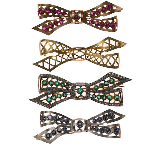A ruby, sapphire, emerald and diamond bow brooch set