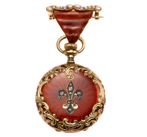 A red enamel, diamond, seed pearl watch-pendant; jeweled movement no. 896833; 14k gold case; case marked with swiss marks & AW Ryker marks on brooch