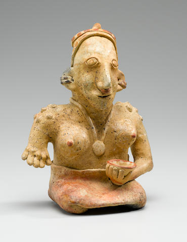 Jalisco Seated Female,<BR />Protoclassic, ca. 100 B.C. - A.D. 250