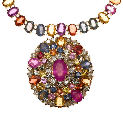 A multi-colored sapphire necklace, 60.65ct tw, 2.15ct d, in 14k, 31g