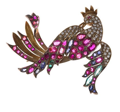 "A diamond, gem-set and gold ""rooster"" brooch"