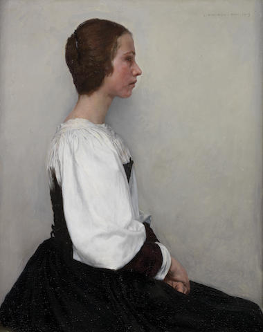 Charles Frederic Ulrich (American, 1858-1908) Portrait of a young lady 22 x 17 1/2in (56 x 44.5cm.)
