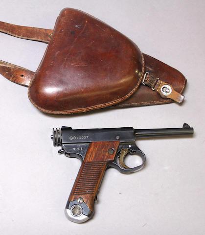 A Japanese Type 14 Nambu semi-automatic pistol with holster
