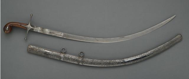 A silver-mounted Ottoman shamshir