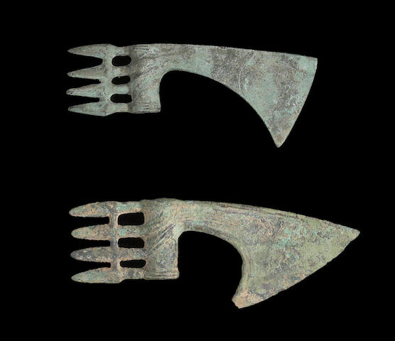 A lot of two Persian spike-butted Bronze Age axe heads