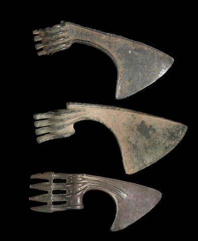 A lot of three Persian Bronze Age axe heads