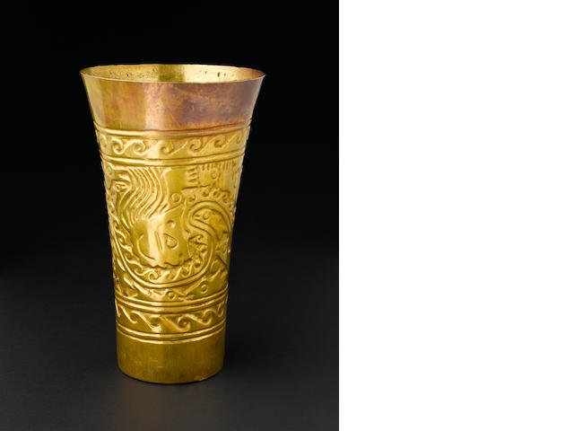 Sicán Gold Beaker,<BR />ca. A.D. 950 - 1250 height 7 5/8in (19.7cm)