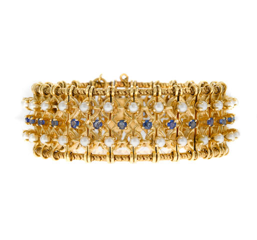 A seed pearl, sapphire and gold bracelet, Hammerman