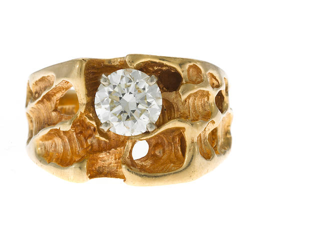 A gent's diamond ring in 14k gold, 10.4g