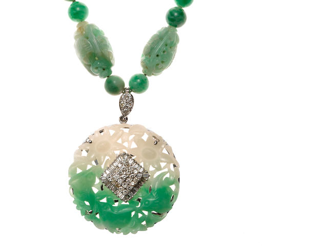 A diamond and jade bead necklace