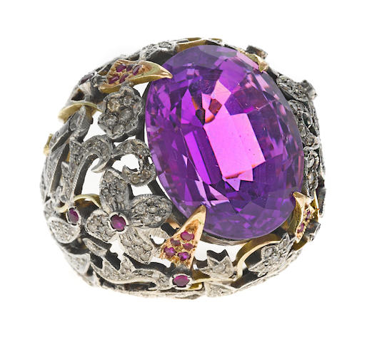An amethyst, ruby and diamond flower motif ring