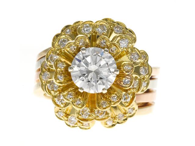 A diamond flower ring