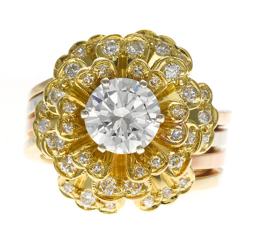 A diamond flower ring