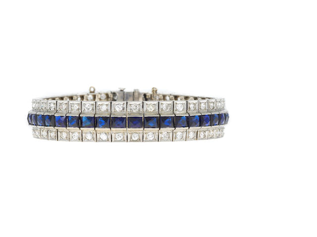 Diamond and syn sapphire line bracelet