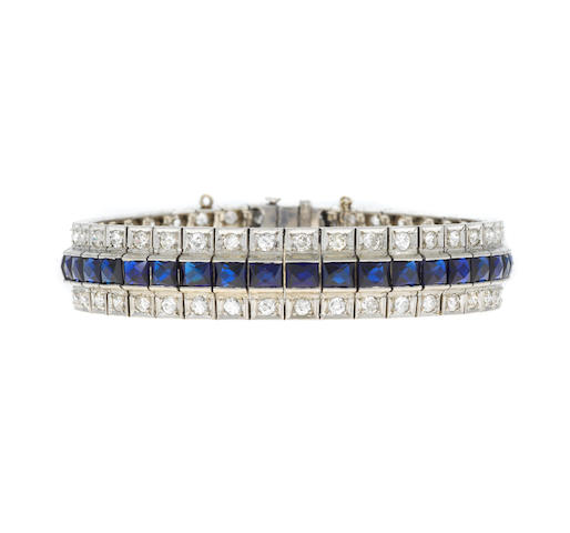 Diamond and syn sapphire line bracelet