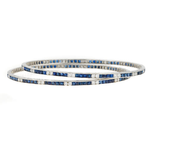Pair of sapphire and diamond bangles