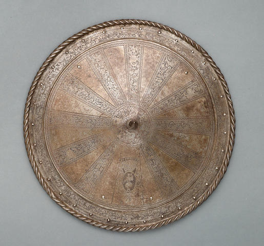 An etched Italian buckler in 16th century style