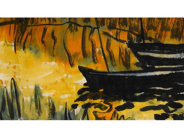 Emil Nolde (1867-1956) Reetlandschaft und booten 13 3/4 x 18 7/8in. (34.7 x 47.8cm)