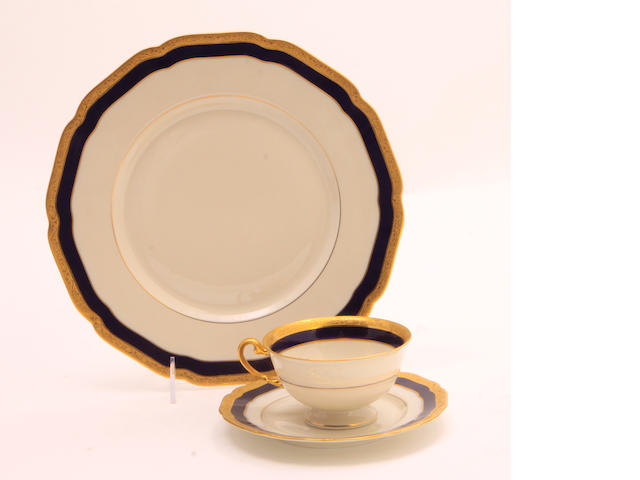 A Hutschenreuther porcelain part dinner service in the Blue Danube pattern