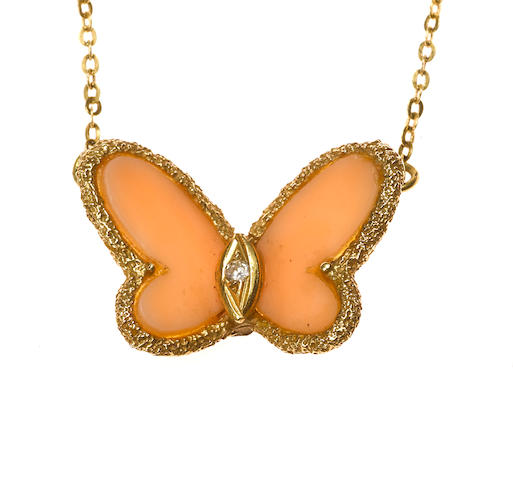 A coral and diamond butterfly pendant/necklace, Van Cleef & Arpels