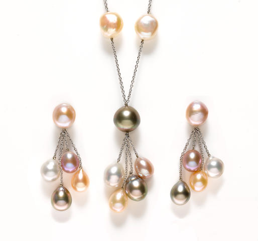 A colored cultured fresh and saltwater pearl necklace together with a matching pair of earrings