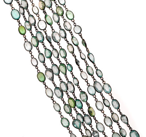 A blue/green cuprian tourmaline and 18k blackened gold longchain, 177.0cts, 109in.